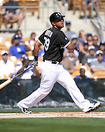 GLENDALE, AZ - MARCH 05:  Jose Abreu #79 of the Chicago White Sox bats during the spring training game between the Los Angeles Dodgers and Chicago White Sox on March 5, 2015 at The Ballpark at Camelback Ranch in Glendale, Arizona. (Photo by Ron Vesely)   Subject:  Jose Abreu
