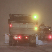 Salt trucks plowing I95 South during a storm Friday, Jan, 22, 2016 in Newark.<br /> <br /> A massive blizzard dumps snow in Newark, and eastern United States on Friday, with mass flight cancellations, five states declaring states of emergency.