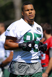 Jun 7, 2012; Florham Park, NJ, USA; New York Jets wide receiver Chaz Schilens (85) during the New York Jets organized team activities at the Atlantic Health Training Center.