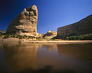 AA03478-03...COLORADO - Steamboat Rock and the sandstone cliffs of Echo Park in Dinosaur National Monument.