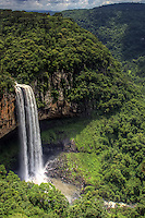 Caracol Falls, or Cascata do Caracol, is a 426-foot (130m) waterfall about 4.35 miles (7km) from Canela, Brazil in Caracol State Park (Parque do Caracol). It is formed by the Caracol River and cuts out of basalt cliffs in the Serra Geral mountain range, falling into the Vale da Lageana. The falls are situated between the pine forest zone of the Brazilian Highlands and the southern coastal Atlantic Forest. The base of the waterfall can be reached by a steep 927-step trail maintained by the Lobo-Guará Project.