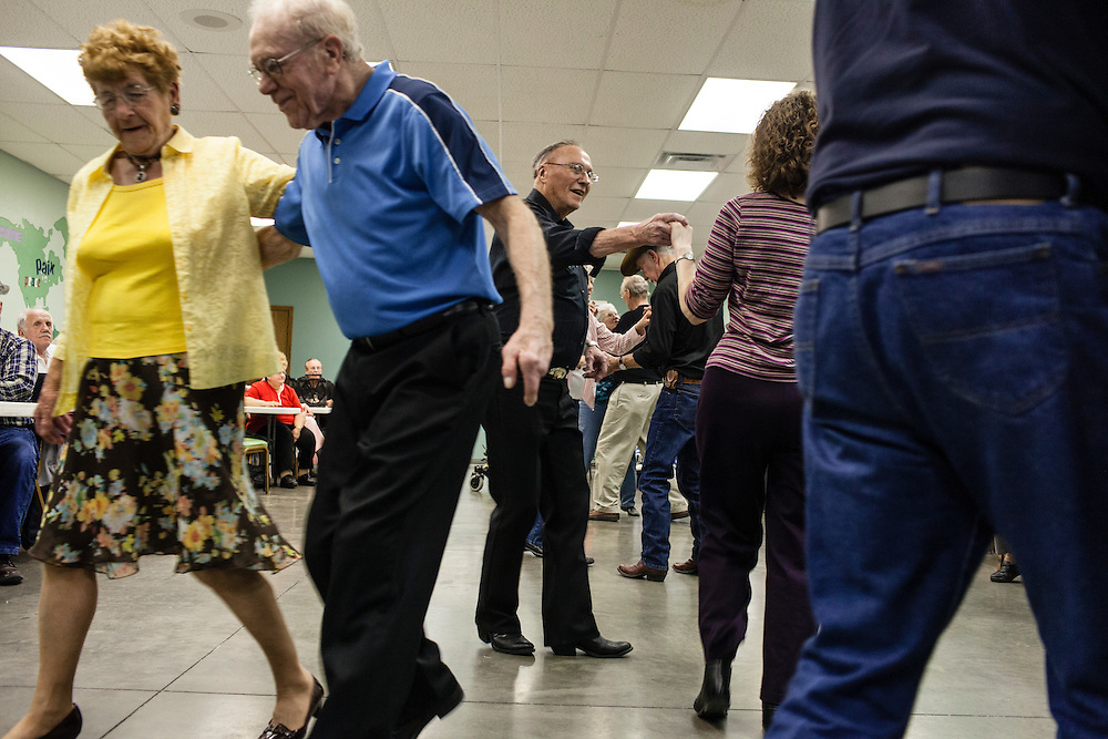 Couples dance at the 61st anniverary part for Lee and Deloris Ayers on Thursday, March 29, 2012 in Webster City, IA.