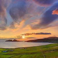 panoramic sunset overlooking st finians bay with view on the great skelligs southwest kerry geopark ireland / bs038 I love the Skelligs, ****** <br /> <br /> Visit &amp; browse through my Photography &amp; Art Gallery, located on the Wild Atlantic Way &amp; Skellig Ring between Waterville and Ballinskelligs (Skellig Coast R567), only 3 minutes from the main Ring of Kerry road.<br /> https://goo.gl/maps/syg6bd3KQtw<br /> <br /> ******<br /> <br /> Contact: 085 7803273 from an Irish mobile phone or +353 85 7803273 from an international mobile phone