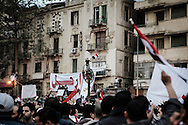 Thousands of Egyptians demonstrators gather on Tahir Square in Cairo to claim removal of president Mubarak.<br /> 04 February 2011.