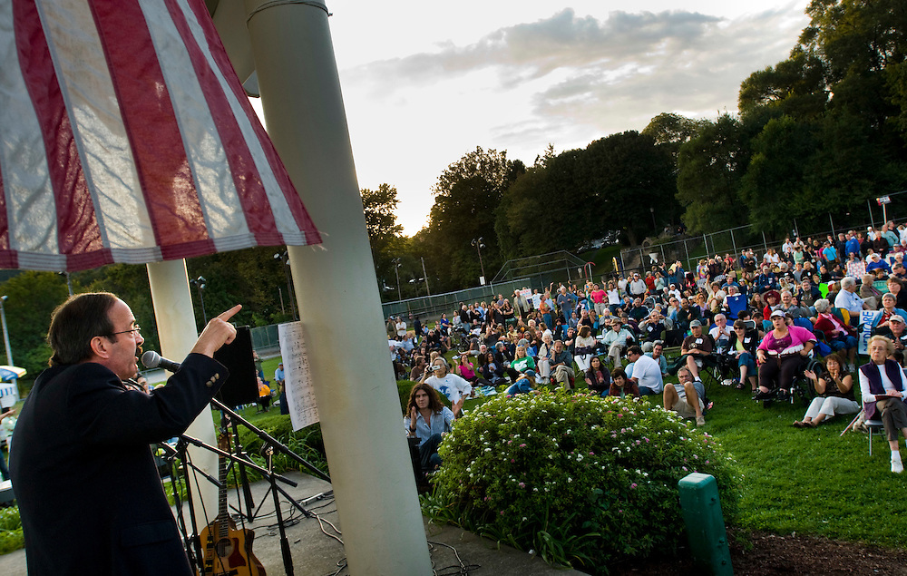 Congressman Eliott Engle, rallying for the healthcare reform in Nyack, New York..Photographer: Chris Maluszynski /MOMENT
