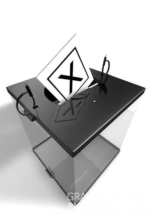 """X"" Voting Slip in opening in lid of Modern Ballot Box."