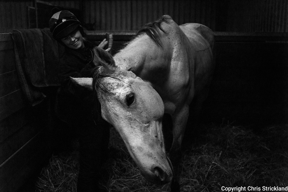 Jockey Joanna Walton at home with racehorse Carters Rest.