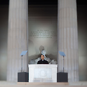 President-elect Barack Obama takes part in the Inaugural concert at the Lincoln Memorial  Sunday, January 18, 2009...Photo by Khue Bui