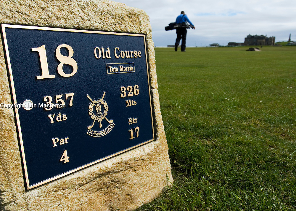 Detail ot Tee box on 18th hole at famous Old Course at St Andrews in Scotland