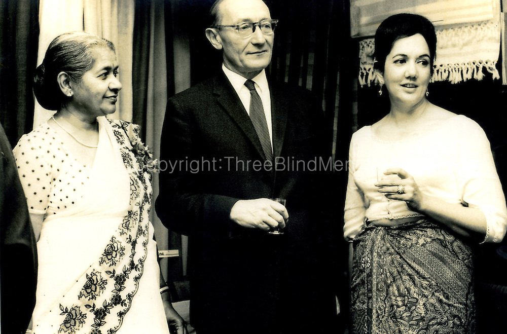 Barbara Sansoni (on right) at opening of her exhibition at the Ceylon Tea Centre, London, UK.<br /> July 18th 1966<br /> On left in sari is Laurel Casinader,