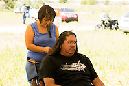 Battle of The Little Bighorn Reenactment, Jack Real Bird, Crow Indian, hair braided