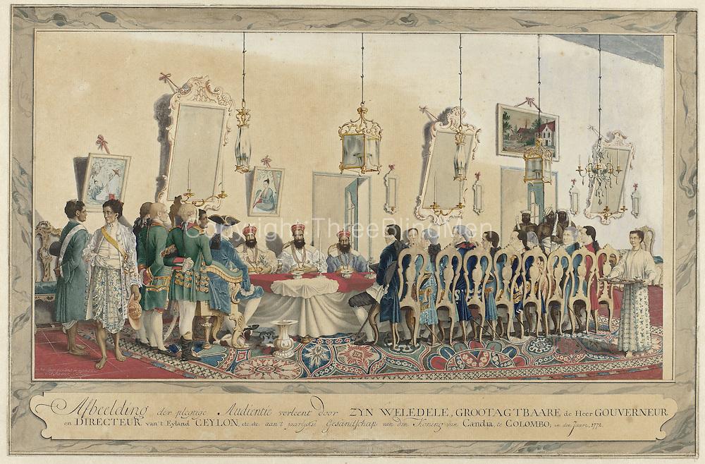 Ontvangst van de gezanten van de koning van Kandy door gouverneur Imam Falck, Carel Frederik Reimer, 1772<br /> Rijksmuseum