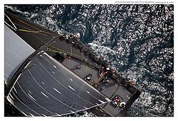 "PALMAVELA 2013. palma de Mallorca, Spain, minimaxi ""Jethou"" competing in Palmavela, helicopter view"