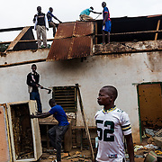 December 10th 2013, Christians burn and destroy piece by piece a mosk in the district of Gobongo in Bangui.