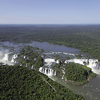Aerial views of Iguazu Falls, between Brazil and Argentina, South America<br />