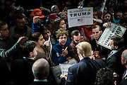 Businessman and 2016 Republican presidential candidate, Donald Trump, signs autographs after participating in a Q&amp;A format event with Liberty University President, Jerry Falwell, Jr  during a campaign event at the Adler Theater in Davenport, IA on January 30, 2016. Trump is in Iowa campaigning in the final days before the Iowa Caucus.<br /> <br /> The Iowa Caucus is the first major electoral event of the nominating process for President of the United States. Both the Democratic and Republican Iowa Caucus will occur on February 1, 2016.