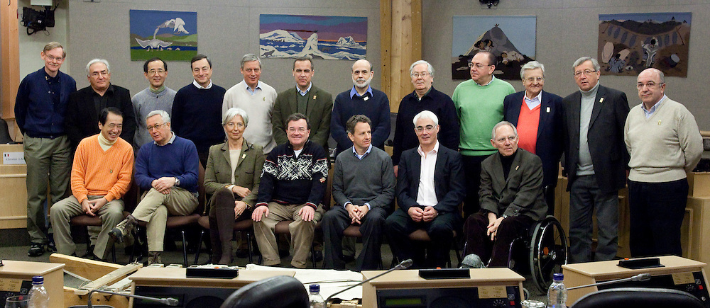 The G7 Finance Ministers and Central Bankers gather for a family photo during a breal in their meetings in Iqaluit, Canada February 6, 2010. In the front row from left, Japan's Minister of Finance Naoto Kan, Italy's Minister of Economy Giulio Tremonti, France's Minister of Economy, Industry and Employment, Christine Lagarde, Canada's Finance Minister Jim Flaherty, US Treasury Secretary Timothy Geithner, Britain's Chancellor of the Exchequer, Alistair Darling and Germany's Minister of Finance Wolfgang Schaeuble. In back from left, World Bank President Robert Zoellick, International Monetary Fund Managing Director Dominique Strauss-Kahn, Bank of Japan Governor Masaaki Shirakawa, Bank of Italy Governor Mario Draghi, Bank of France Governor Christian Noyer, Bank of Canada Governor Mark Carney, US Federal Reserve Chairman Ben Bernanke, Bank of England Governor Mervyn King, German Federal Bank President Alex Weber, European Central Bank President Jean-Claude Trichet, Eurogroup President Jean-Claude Junker and European Commission Commissioner Joaquin Almunia.<br /> AFP/GEOFF ROBINS/STR