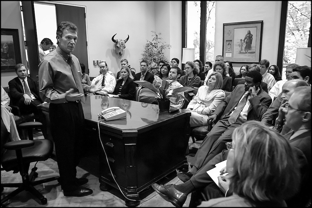 Senate Majority Leader Tom Daschle talks to staff at his congressional office in the Hart Building.  RE:  Security, recent events, etc.   9/26/01..©PF BENTLEY/PFPIX.com