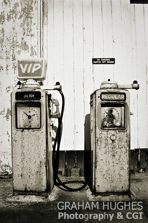 VIP Gas Pumps at old forecourt in Swanage, Dorset.