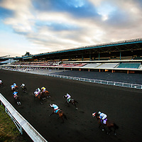 Horses Race by an empty grandstand on December 21, 2013 at Betfair Hollywood Park in Inglewood, California . The Track is set to close on December 22, 2013 after operating for 75 Years.(Alex Evers/ Eclipse Sportswire)