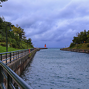 &quot;Walkway to Charlevoix Lighthouse&quot; <br /> <br /> Take a look and a walk down the path to the South Pier Lighthouse in Charlevoix Michigan!