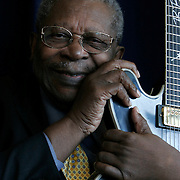 Washington, Sept. 12, 2005 - Blues legend B.B. King poses for a portrait at the National Press Club on Sept. 12, 2005 in Washington. Mr. King will be celebrating his 80th birthday on Sept. 16. (Photo by Jay Westcott)