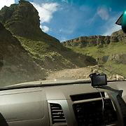 The Sani Pass, which goes from South Africa to Lesotho, through the Drakensburg Mountains.  South Africa - Lesotho
