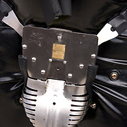 Carrara Chastity Belt, steel cod piece S&M paraphernalia  at Folsom Street East, s/m-leather-fetish themed street festival.