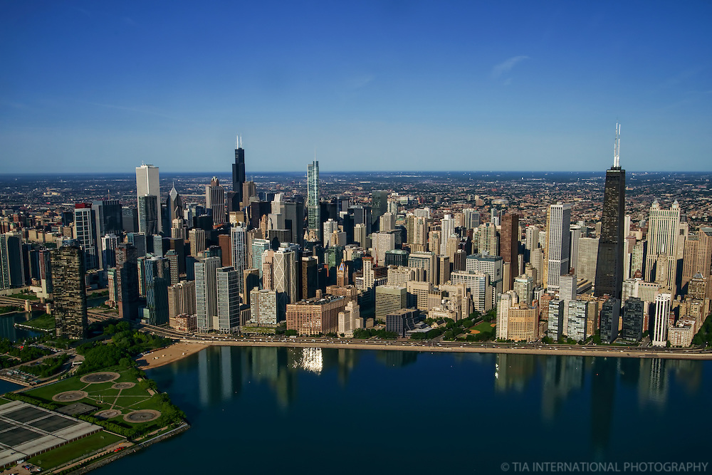 Chicago Skyline & Olive Park (left foreground)