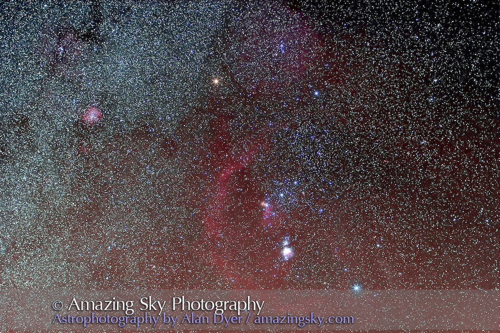 Orion, taken Dec 29, 2007 with 35mm Canon lens at f/2.8 and Canon 20Da at ISO400 for stack of 6 x 3 minute exposures. Includes M42, Rosette Nebula, and Barnard's Loop.
