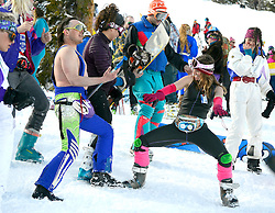 Perfectly dressed for the occasion, Brent Fullerton gets down with Elizabeth Keane on April 1 at Jackson Hole Mountain Resort's Gaper Day festivities.