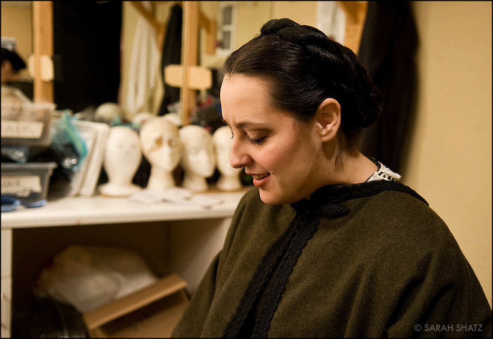 "Opera singer Iulia Merca backstage at the Dicapo Opera Theatre where she sings the role of Marianna Mortara in Francesco Cilluffo's ""Il Caso Mortara"""