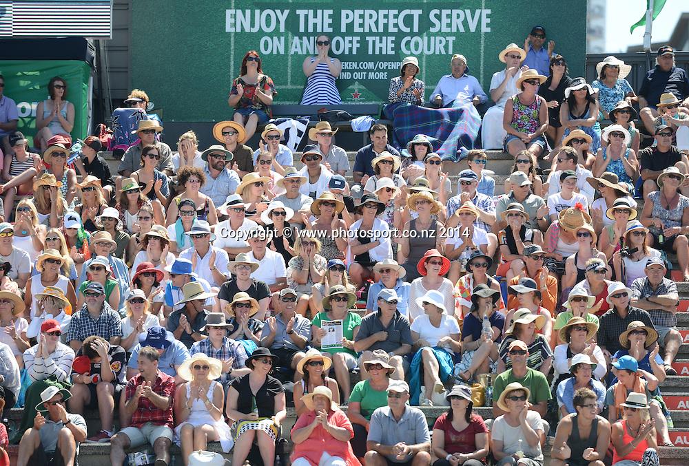 Tennis fans at the 2014 Heineken Open. ASB Tennis Centre, Auckland. New Zealand. Tuesday 7 January 2014. Photo: Andrew Cornaga/www.photosport.co.nz