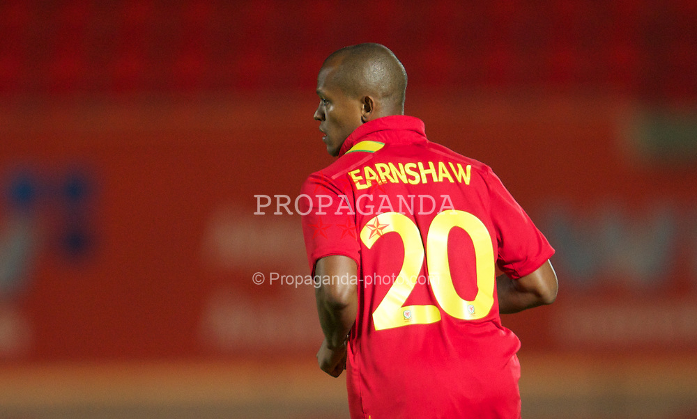 LLANELLI, WALES - Wednesday, August 15, 2012: Wales' Robert Earnshaw wears his shirt with the collar turned up against Bosnia-Herzegovina during the international friendly match at Parc y Scarlets. (Pic by David Rawcliffe/Propaganda)