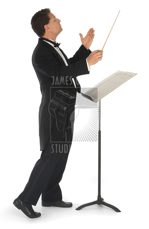 Orchestra conductor on a white background