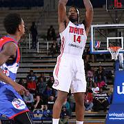Grand Rapids Drive Forward Adonis Thomas (14) attempts a short range shot in the second half of a NBA D-league regular season basketball game between the Delaware 87ers and the Grand Rapids Drive (Detroit Pistons) Saturday, Apr. 04, 2015 at The Bob Carpenter Sports Convocation Center in Newark, DEL.