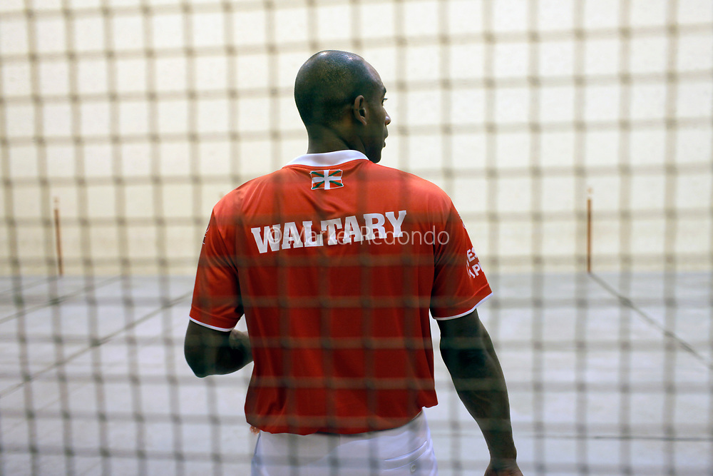 Cuban Basque pelota player Waltary Agusti at Saint Palais Trinquete, Basse Navarre, France.
