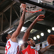 Maine Red Claws Guard DAVON USHER drives towards the basket as Philadelphia 76ers assignee, Center CHRISTIAN WOOD (33) defends in the first half of a NBA D-league regular season basketball game between the Delaware 87ers and the Maine Red Claws  Friday, Feb. 05, 2016 at The Bob Carpenter Sports Convocation Center in Newark, DEL.