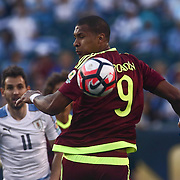 Venezuela Attacker SALOMON RONDON (9) passes the ball in the first half of a Copa America Centenario Group C match between Uruguay and Venezuela Thursday, June. 09, 2016 at Lincoln Financial Field in Philadelphia, PA.