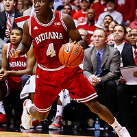 WEST LAFAYETTE, IN - JANUARY 30: Victor Oladipo #4 of the Indiana Hoosiers dribbles the ball in the corner against the Purdue Boilermakers at Mackey Arena on January 30, 2013 in West Lafayette, Indiana. Indiana defeated Purdue 97-60. (Photo by Michael Hickey/Getty Images) *** Local Caption *** Victor Oladipo
