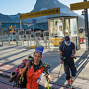In Zermatt, Switzerland, the Gornergrat rack railway (GGB) takes you to a spectacular ridge (at 3135 m or 10,285 ft) between Gornergletscher and Findelgletscher, with views of 20+ four-thousand meter peaks, whose highest are Dufourspitze (Monte Rosa massif), Liskamm, Matterhorn, Dom and Weisshorn. Gornergrat train, opened in 1898, climbs almost 1500 m or 4900 ft via Riffelalp and Riffelberg in the Pennine Alps, Europe. For licensing options, please inquire.