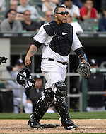 CHICAGO - APRIL 21:  Dioner Navarro #27 of the Chicago White Sox catches against the Los Angeles Angels of Anaheim in the eighth inning on April 21, 2016 at U.S. Cellular Field in Chicago, Illinois.  The Angels defeated the White Sox 3-2.  (Photo by Ron Vesely)   Subject: Dioner Navarro