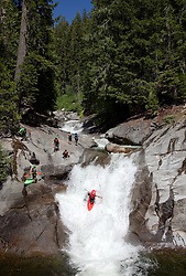 """""""Kayakers on Silver Creek 2"""" - These kayakers were photographed on Silver Creek - South Fork, near Icehouse Reservoir, CA."""