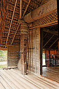 The long house and the matrilineal family The long house is the residence of a great matrilineal family. Traditionally, the house accommodates the families of daughters and grand daughters who were the descendants of one mother. Before the middle of the 20th century, there were dozens of families living in the long house. The whole family worked together and shared rice and other food. Property was held in common and customary law of the Ede stipulated that the property should be managed by the household's most senior woman. After marriage, a son would reside in this wife's house but still retain a special position in the families of his sisters and his nieces. The important role of women was (and continues to be) a special feature of Ede society.