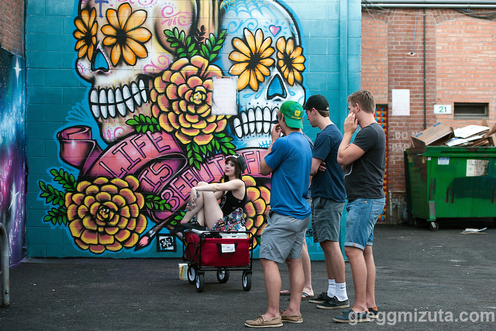 Freak Alley Gallery sixth annual mural event in downtown Boise, Idaho on August 8, 2016. <br /> <br /> Freak Alley Gallery's week long event provided an &quot;art-in-motion&quot; experience as it welcomed the public to watch artists work on their murals.