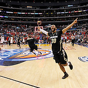 10 March 2012: Colorado Buffaloes guard Carlon Brown (30) celebrates during the NCAA Men's Basketball Pac-12 Tournament Game between the Arizona Wildcats and the Colorado Buffaloes at the Staples Center in Los Angeles, CA.