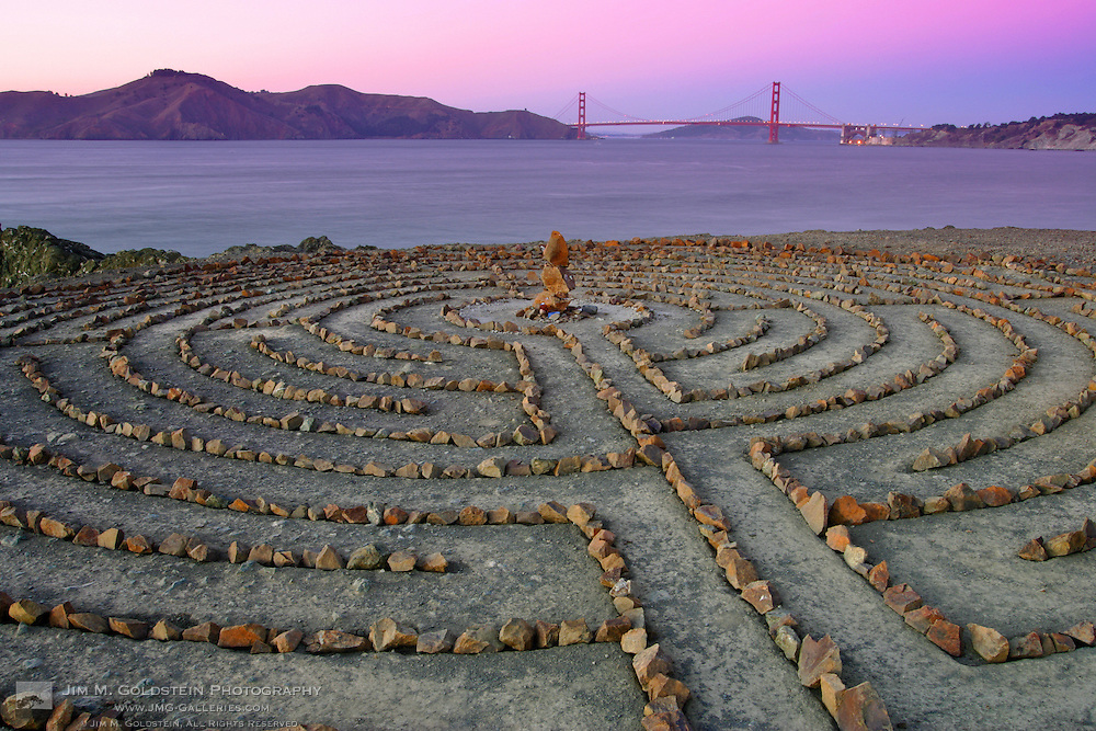 Lands End labyrinth at dusk with the Golden Gate Bridge in the background - San Francisco, California