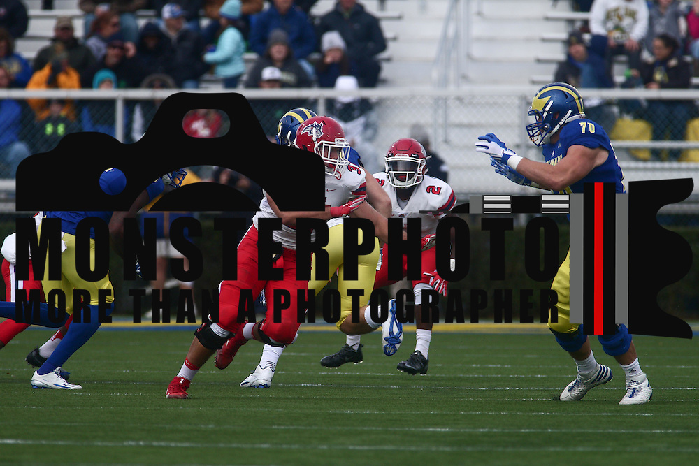 Stony Brook linebacker JOHN HAGGART (37) move pass the linemen during a week eight game between the Delaware Blue Hens and the Stony Brook Seawolves, Saturday, Oct. 22, 2016 at Tubby Raymond Field at Delaware Stadium in Newark, DE.
