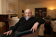 """New York, NY – January 14, 2014 : Celebrated author E. L. Doctorow discusses his new book, """"Andrew's Brain,"""" at his apartment in New York, NY on January 10, 2014. E. L. Doctorow's works of fiction  include Homer & Langley, The March, Billy Bathgate, Ragtime, the Book of Daniel, City of God, Welcome to Hard Times, Loon Lake, World's Fair, The Waterworks, and All the Time in the World. Among his honors are the National Book Award, three National Book Critics Circle Awards, two PEN Faulkner Awards, The Edith Wharton Citation for Fiction, and the presidentially conferred National Humanities Medal."""