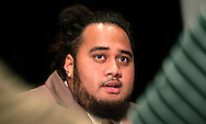 Florida offensive lineman Jon Halapio  talks with reporters during the SEC football Media Days in Hoover, Ala., Tuesday, July 16, 2013. (AP Photo/Dave Martin)